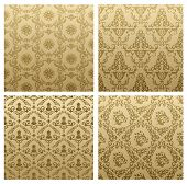 Raster seamless vintage backgrounds brown baroque Pattern. Vector copy search in my portfolio
