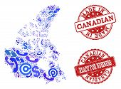 Business Contacts Composition Of Blue Mosaic Map Of Canada And Scratched Seal Stamps. Vector Red Sea poster