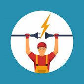 Professional Electrician Icon. Electrical Outlet And Plug In The Hands Of The Worker. Unplug, Plugge poster