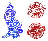 Business Contacts Collage Of Blue Mosaic Map Of Liechtenstein And Scratched Seal Stamps. Vector Red  poster