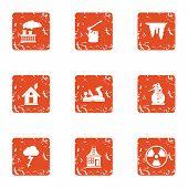 Chemical Energy Icons Set. Grunge Set Of 9 Chemical Energy Icons For Web Isolated On White Backgroun poster