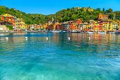 Beautiful Portofino Cityscape, Best Touristic Mediterranean Place With Typical Colorful Buildings An poster