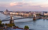 Panoramic View Of The Chain Bridge That Spans River Danube In Budapest, Hungary, In The Dusk. The Hu poster