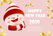 Happy New Year Pink Banner Design With Snowman Face And Sample Text. Calligraphy With Cartoon Snowma poster
