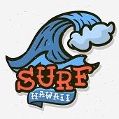 Surfing Surf Themed Hawaii Hand Drawn Traditional Old School Tattoo Aesthetic  Influenced Art Drawin poster