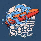 Surfing Surf Themed Longboard And Stylized Water Waves And Drops Hand Drawn Traditional Old School T poster