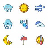 Meteorological Data Icons Set. Cartoon Set Of 9 Meteorological Data Vector Icons For Web Isolated On poster