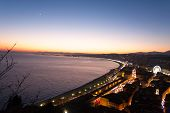 Nice Beach Night Landscape, France.  Nice Beach And Famous Walkway Of The English, Promenade Des Ang poster
