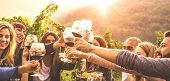 Young Friends Having Fun Outdoors - Happy People Enjoying Harvest Time Together At Farmhouse Winery  poster