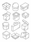 Box Isometric Icon. Cardboard Export Package Container Small Present With Bow Vector Outline Symbols poster