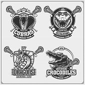 Set Of Lacrosse Emblems, Badges And Labels With Cobra, Crocodile And Dragon. poster