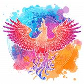 Mythycal Bird Phoenix. Samsara Wheel On A Background. Sycle Of Life And Death, Symbol Of Rebirth. Ta poster
