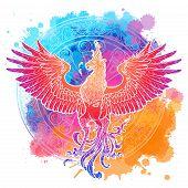 Mythycal Bird Phoenix. Samsara Wheel On A Background. Sycle Of Life And Death, Symbol Of Rebirth. Ta poster