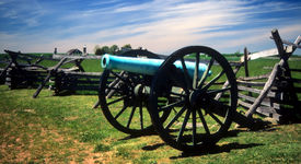 picture of rebs  - Napoleon 12 lb cannon near Peach Orchard Gettysburg National Historical Battlefield Pennsylvania  - JPG