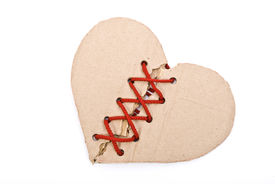 picture of broken heart  - Torn cardboard heart with red shoelace - JPG