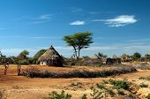 stock photo of shacks  - African tribal hut in the lower Omo valley in Ethiopia - JPG