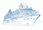 image of cruise ship  - Sketched drawing of a cruise liner over a white background - JPG