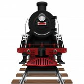 image of loco  - Layered vector illustration of steam locomotive with white background - JPG