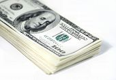 stock photo of money stack  - stack of us dollar bills - JPG