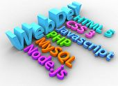stock photo of node  - Website development tools HTML CSS SQL PHP node - JPG