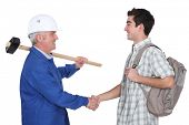 Tradesman meeting new apprentice