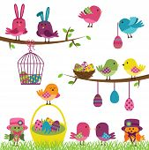 stock photo of caged  - Cute Vector Set of Sweet Easter Birds - JPG