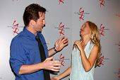 LOS ANGELES - JUN 4:  Michael Muhney, Sharon Case arrives at SAG-AFTRA Panel Discussion With The Cas