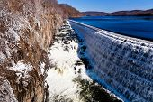 stock photo of crotons  - river waterfall on Croton Dam in winter day - JPG