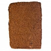 picture of coir  - A compressed bale of ground coconut shell fibers  - JPG