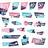 stock photo of tv sets  - Set of modern designed stickers and badges for sale - JPG