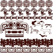 stock photo of yucatan  - Vector of set of ancient American ornaments on white - JPG