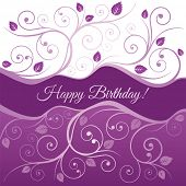 image of girly  - Happy Birthday card with pink and purple swirls and leaves - JPG