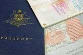 image of credential  - australian passport and immigration visa with customs stamp - JPG