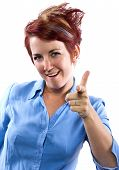 stock photo of gotcha  - young redhead woman with generic gestures and facial expressions - JPG