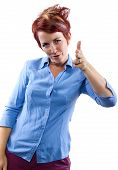 pic of gotcha  - young redhead woman with generic gestures and facial expressions - JPG