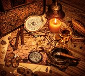 stock photo of buccaneer  - Closeup on beautiful buccaneer treasure background - JPG