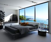 foto of master bedroom  - Fantastic bedroom interior with grey bed with bedsheets against huge window with panoramic view - JPG