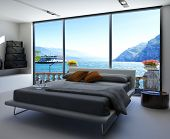 image of master bedroom  - Fantastic bedroom interior with grey bed with bedsheets against huge window with panoramic view - JPG