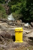 stock photo of dustbin  - Dustbin at tourist area to remind enviromental protection sense let - JPG