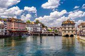 stock photo of zurich  - Houses on the Zurich lake in Switzerland - JPG