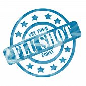 picture of flu shot  - A blue ink weathered roughed up circles and stars stamp design with the words Get Your FLU SHOT Today on it making a great concept - JPG