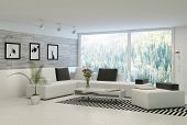 stock photo of stone house  - Modern living room with huge windows and stone wall - JPG