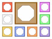 stock photo of octagon shape  - colorful 3d vector set of octagon frames for collect picture image and gallery on white background - JPG