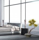 Luxury Bedroom interior with floor to ceiling windows and houseplant