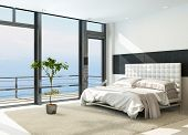 foto of master bedroom  - Contemporary modern sunny bedroom interior with huge windows - JPG