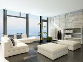 stock photo of stone house  - Modern living room with huge windows and concrete stone wall - JPG