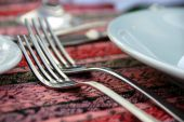 image of table manners  - two forks served on dinner table closeup  - JPG