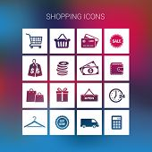 Collection of shopping icons on a blurred background