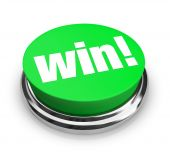 stock photo of money prize  - A green button with the word Win on it - JPG