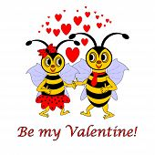 foto of bee cartoon  - Two funny cartoon bees with words  - JPG